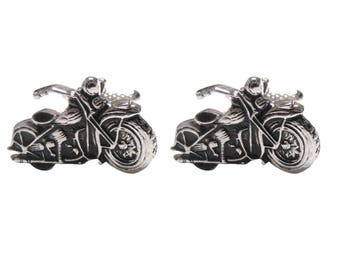 Detailed Black and Silver Toned Motorcycle Cufflinks