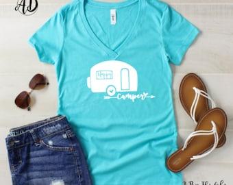 Happy Camper Shirt, Women's V Neck T shirt in Multiple Colors