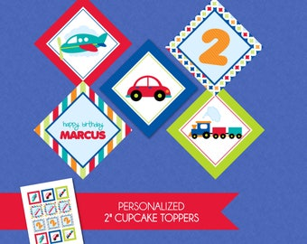 Adorable Transportation Personalized 2'' Birthday Cupcake Toppers - Trucks Planes Cars Blue Green Red Orange