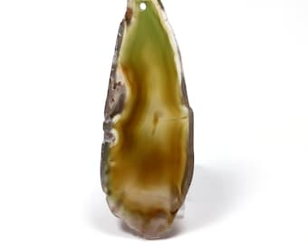76 mm khaki green agate slice
