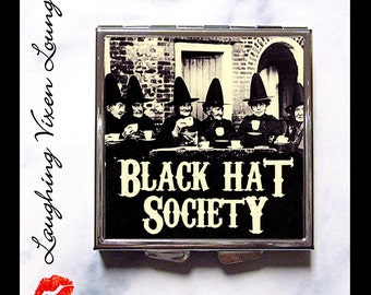 Witch Pill Box - Witch Compact Mirror - Black Hat Society Compact Style-A - Witch Mirror - Halloween Mirror - Pill Case Pill Holder Pillbox