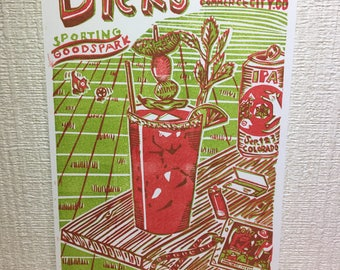 Dick's 2017 tiny poster (rubber block print)
