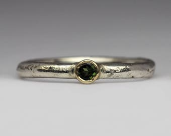Green Tourmaline Ring, Sandcast Silver Ring, Textured Gemstone Ring, Promise Ring, October Birthstone, Unique Jewellery, Unique Gift for Her