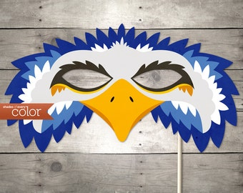 DIY Printable Blue Eagle Mask - Mardi Gras, Birthdays, Masquerade Ball, Weddings, or Halloween