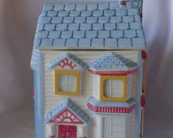COOKIE JAR ~  Victorian Blue 2-Story House, Blue Roof,  Window Frame Photo Holder  '94