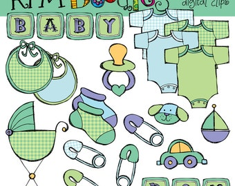 KPM Baby boy digital clipart clip art and stamps COMBO