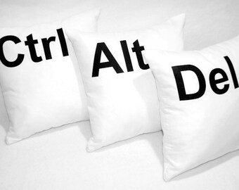 Pillows CTRL ALT DEL Set 3pcs Gift Gadget Decorative Pillows Young Boys Room Home Decor 12x12""