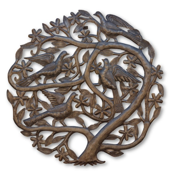 Tree of Life w/ Flowers & Birds, Handmade Haitian Quality Art, One-of-a-Kind Metal Sculpture 23 x 23