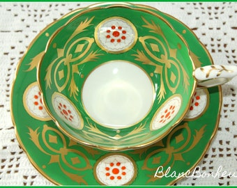 Royal Stafford, England: Green tea cup & saucer