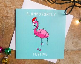 Flamingo Christmas Card, Flamboyantly Festive, Christmas Card, Xmas Card, Fairy Lights, Pink, Tropical, Exotic, Illustrated Card, Bright