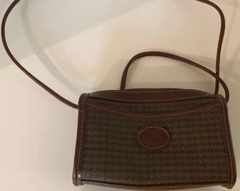 """1980's Rare, Vintage, Brown Leather Preppy """"Rivage"""" Original Classic with Houndstooth Design"""