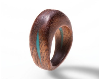 Handmade Wood and resin ring. ready to ship in size 6 and a half with aqua resin
