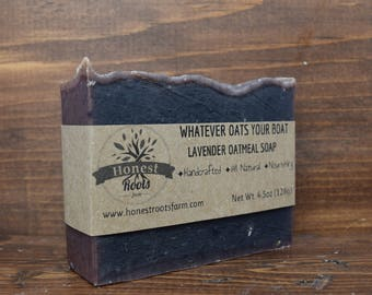 Lavender Oatmeal Soap - Handmade Soap - Homemade Soap - All Natural Soap - Essential Oil Soap - 4.5 oz Bar Soap - Gentle Exfoliation Soap