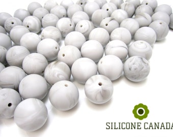 12mm - Lot of 10 Grey Marble Silicone Beads