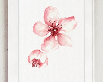 Cherry Blossom Art Print, Pink Floral Poster, Shabby Chic Home Decor, Watercolor Painting, Sakura Illustration