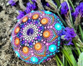 Dot Painted Mandala Stone,(medium) Flower Mandala, Dot Art, Treasures By Keely, Flower, Dotism, Home Decor, Bohemian, Hippie Art, Meditation