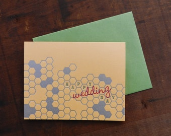 Letterpress Wedding Honeycomb Notecard