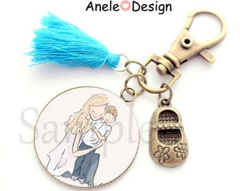 Keychain, MOM, gift for MOM, MOM and son, cabochon blue tassel love