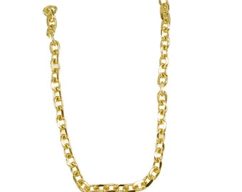 "36cm or 14"" Small Light Gold Chain - 10mm Width, Replacement Chain, Chain Strap, Curb Chain, Chain Handle with Clasp, Layered Chain"