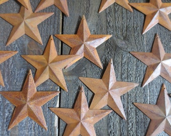 "Set of 25 Rusty Tin Stars 3.75 inch Dimensional Primitive Barn Country Rustic Style 3 3/4"" Diameter Craft Metal Stars"