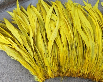 Coque feathers in yellow- length  12-14 inches-long yellow feathers, millinery, Tahitian costume, hula supply, Polynesian dance