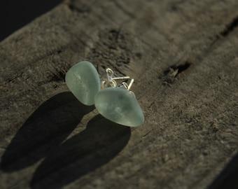 SeaFoam Sea Glass Earrings/Genuine Sea Glass/Stud Earrings