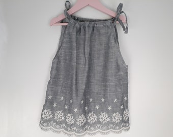 Summer dress girl gray and embroidery