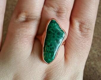 Malachite & Copper Electroformed Ring. Healing Metal Jewelry.