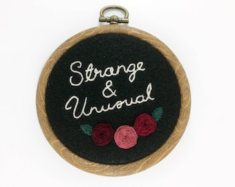 "Strange & Unusual 3"" Embroidery Hoop Beetlejuice Typography Rose Floral"