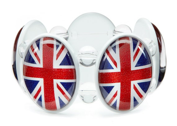 SALE - Union Jack Five-Cameo Stretch Bracelet in White