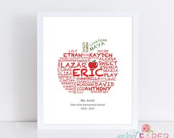 Teacher Appreciation Word Art - Class List Apple Word Art Teacher Gift - Personalized Teacher Gift with Student Name - Digital File