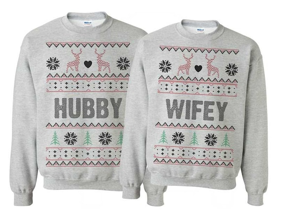 Hubby & Wifey Printed Christmas Jumper Pair cUPhq