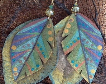 On Sale Blue Green Gold Painted Leather Leaf Crystal Earrings
