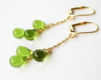 Olive Green Dangle Earrings, Gold Lever Back Earrings, Moss Green Glass Teardrops, Handmade, Golden Clover