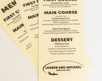 Travel Airplane Menu Cards Custom Wedding Decor Handmade Bridal Sign Table Setting Special Event Airport Set 10