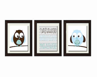 Owl Bathroom Decor, Owl Bathroom Set, Wash Brush Flush, Bathroom Rules, Boy Bathroom Decor, Bathroom Wall Art, Bathroom Wall Art