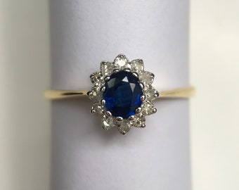 9ct sapphire and diamond cluster ring