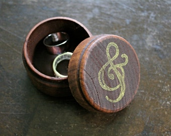 Wedding ring box, rustic wooden ring box, ring bearer accessory, ring warming, small round ring box, ampersand design in gold, hand stamped