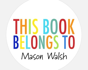 Custom book plate, Book Plate Stickers, Personalized stickers, Rainbow stickers, gift tags, this book belongs to