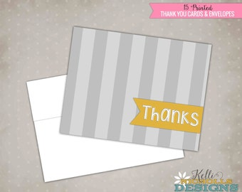 Grey Stripe Thank You Cards, Mustard Yellow Thank You Notes