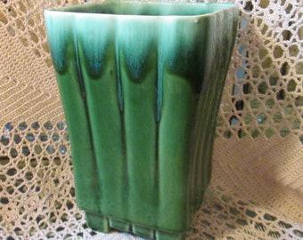 Vintage Marietta Modern Green and Blue Drip Glaze Vase