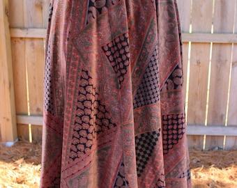 Vintage 70s 1970s Century of Boston Velvet Velour Patchwork Paisley Print Skirt Union Made Size 14