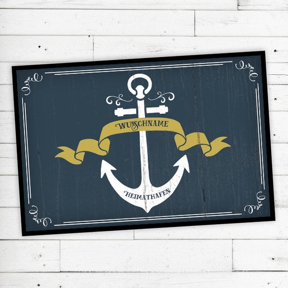 "Floor Mat Home port ""anchor"" with your name"