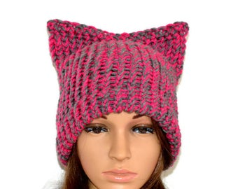 Pussy Hat, Pussy Cat Hat, Adult Cat Hat, Cat Ears Hat ,March Hat,Chunky Cat Hat, Cat Beanie,grey cat hat, Resist Hat,Chunky Knit Hat,cat hat