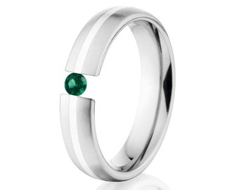 Tension Set Ring, 5mm, Uniequly You, Two Toned Titanium and Sterling Silver, Emerald, 5HR11G-SS-BR