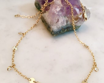 Gold choker, gold filled chain, gold necklace, gold filled necklace, choker necklace, swarovski crystals