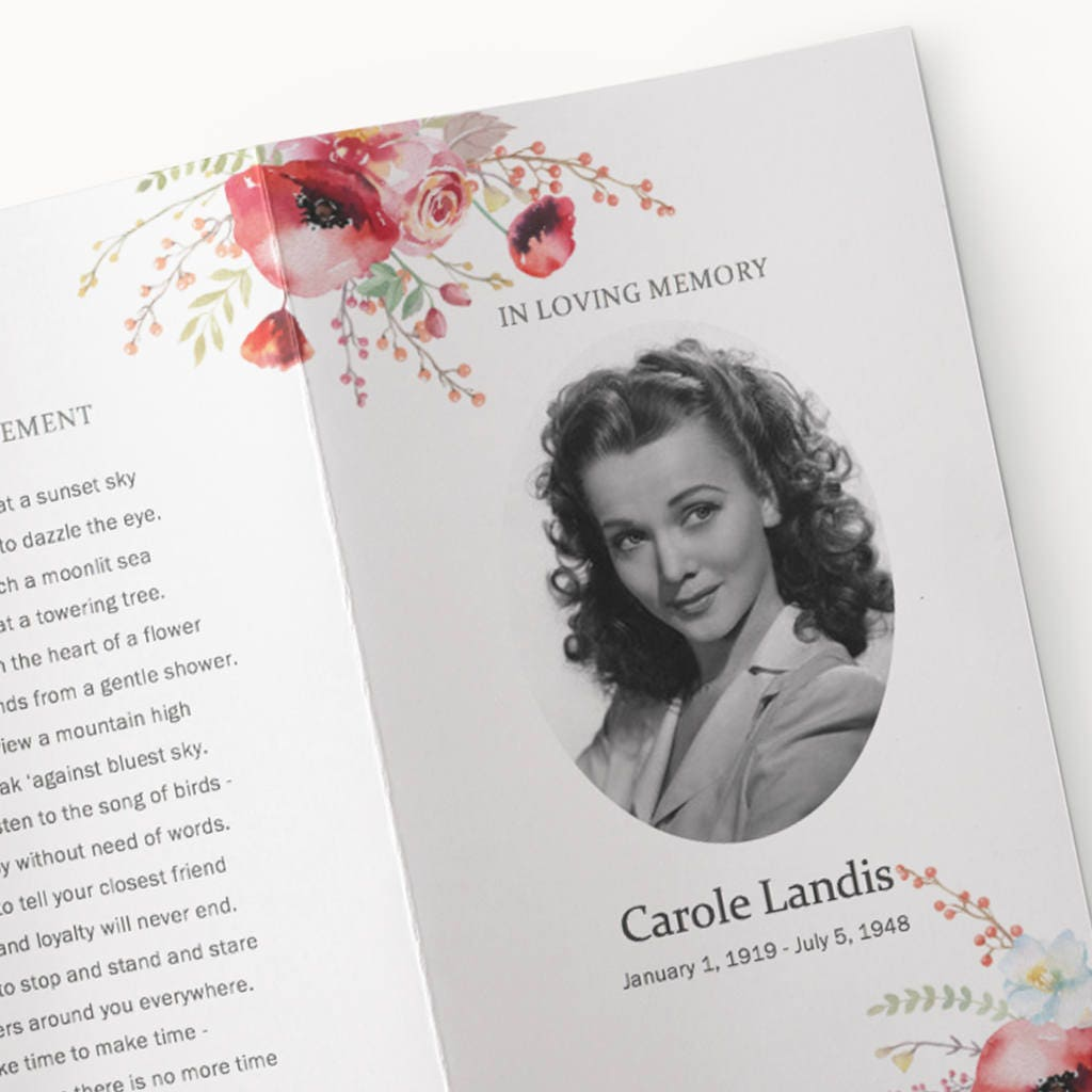 Funeral Program Template poppy red flower watercolor funeral