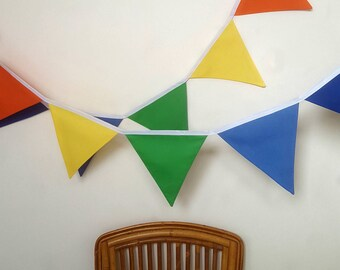 Rainbow fabric bunting banner flags, Rainbow Party, Fabric Garland, Carnival Decorations, Circus Theme Party, Fabric Banner, Bunting Flags