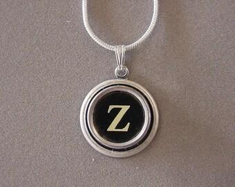 Typewriter key necklace Jewelry Typewriter key Initial necklace Initial Z Steampunk recycled jewelry