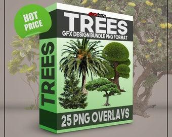Trees GFX Design Bundle PNG Format - No Background Images